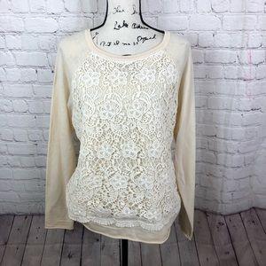 Sundance Merino Wool Crochet Front Sweater